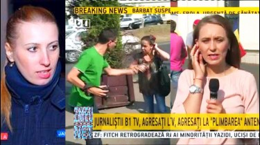 Video Rusine Jandarmeria Romana Jurnalista B1TV agresata Plimbarea Libertatii ANTENA3 protest Cotroceni